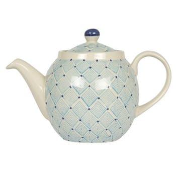 Théière décor géométrique façon losanges céramique tons bleus clairs D10xH10,5cm