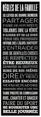 """Toile message """"Règles de la Famille"""" Noir & Blanc imprimée avec cadre bois H90cm"""