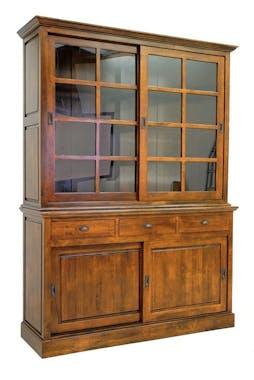 Vaisselier 2 portes vitrées coulissantes hévéa 163x220cm TRADITION