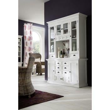 Vaisselier bois blanc acajou 12 tiroirs 8 portes 145x220cm ROYAN