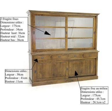 Vaisselier bois d'hévéa portes coulissantes TRADITION