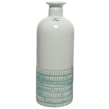 Vase ciselé terre cuite blanche et turquoise H26cm