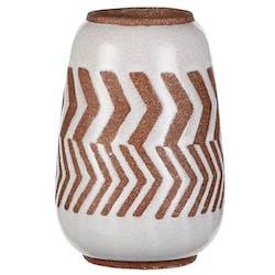 Vase décoration aztek blanc marron 15,5 cm