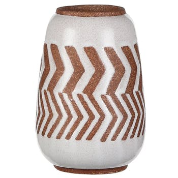 Vase décoration aztek blanc marron 15,5 cm