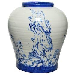 Vase en céramique blanche aquarelle bleue
