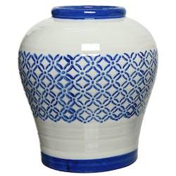 Vase en céramique blanche fleurs graphiques bleues