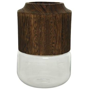 Vase en verre blanc et bois petit modèle