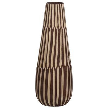 Vase haut marron et blanc à stries H 46 cm