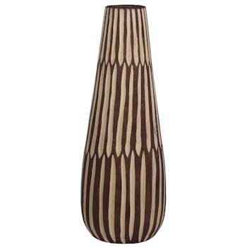 Vase haut marron et blanc à stries H 46 cm