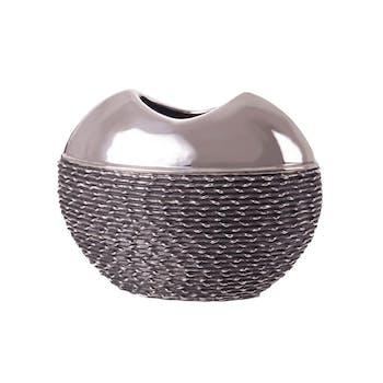 Vase oval en 2 textures lisse et tressé en céramique aspect chromé 26x11xh21cm