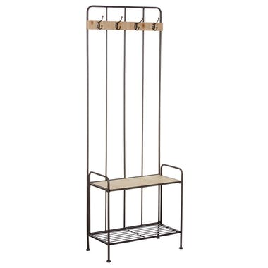 Vestiaire en métal gris et bois naturel 2 étagères, 4 crochets 60x30xH169,5cm