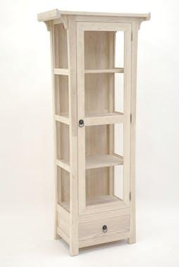 Vitrine Hévéa 1 porte vitrée, 1 tiroir 70x38x170cm MAORI