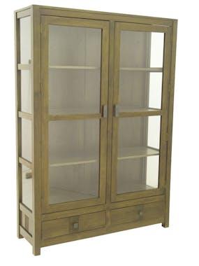 Vitrine Hévéa 2 portes vitrées, 2 tiroirs 120x38x170cm GALA