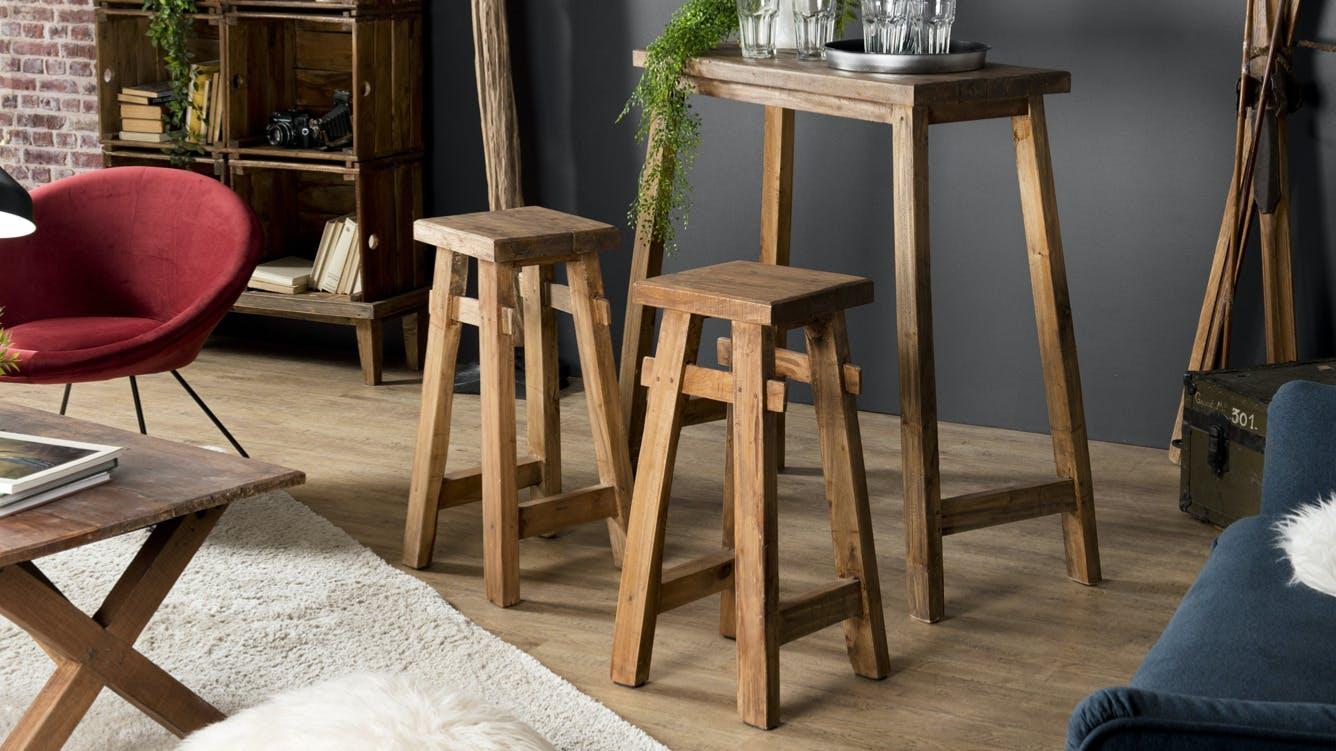 Tabourets de bar et Chaises de bar en bois recyclé : style industriel, style vintage...