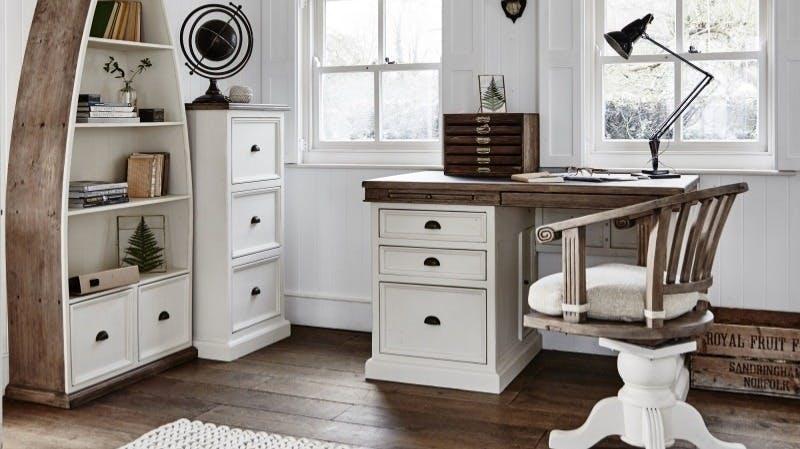 Meubles de bureau en bois recyclé : avec tiroir, avec caisson...