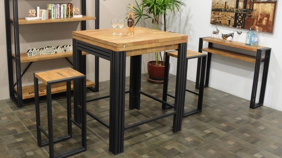 Tables hautes et Mange-debout en bois recyclé : rectangulaire, carré...